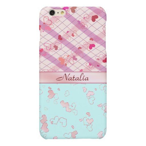 Monogram Pink hearts Matte iPhone 6 Plus Case