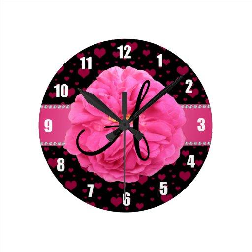 MOnogram pink hearts pink peony Wall Clock