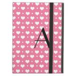 Monogram pink hearts polka dots iPad cases