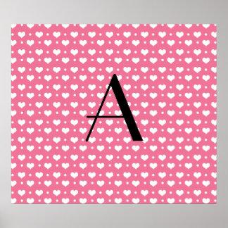 Monogram pink hearts polka dots poster