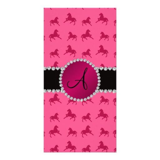 Monogram pink horse pattern photo card template