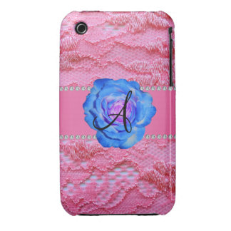 Monogram pink lace blue rose iPhone 3 Case-Mate cases