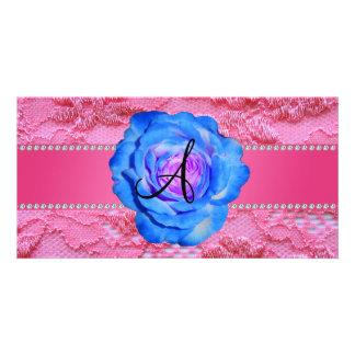 Monogram pink lace blue rose photo card