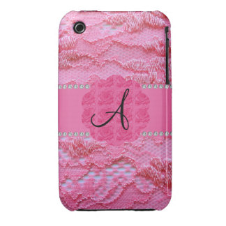 Monogram pink lace iPhone 3 cover
