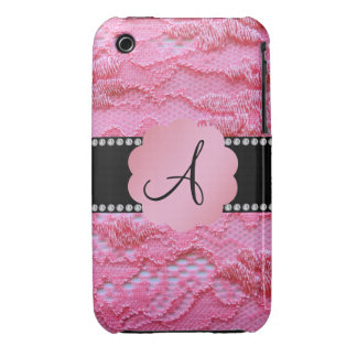 Monogram pink lace iPhone 3 Case-Mate cases