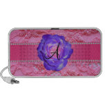 Monogram pink lace purple rose portable speaker