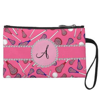 Monogram pink lacrosse pattern wristlet