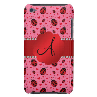 Monogram pink ladybugs hearts barely there iPod cases