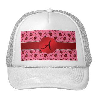 Monogram pink ladybugs hearts trucker hat