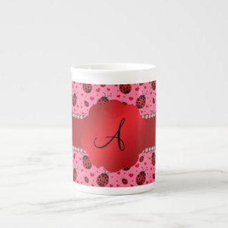 Monogram pink ladybugs hearts porcelain mugs