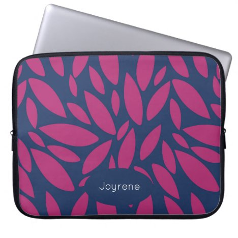 Monogram pink leaves on blue background laptop sleeve