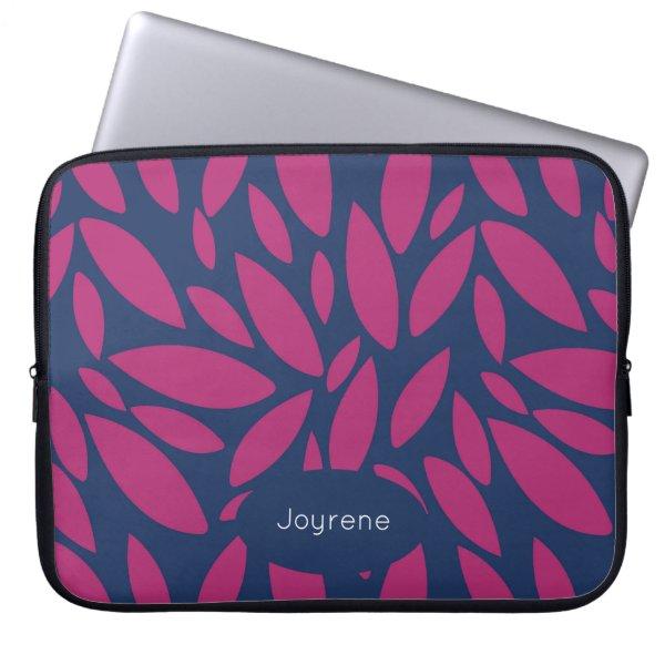 Monogram pink leaves on blue background laptop sleeve