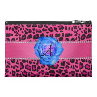 Monogram pink leopard blue rose travel accessory bag