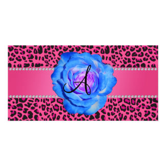 Monogram pink leopard blue rose photo card