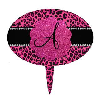 Monogram pink leopard cake topper