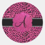 Monogram pink leopard classic round sticker