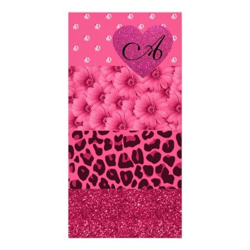 Monogram pink leopard glitter diamond flowers photo cards