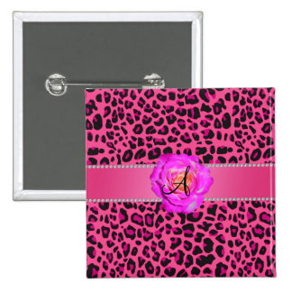 Monogram pink leopard hot pink rose pinback buttons