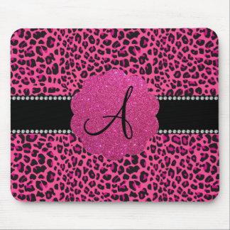 Monogram pink leopard mouse pad
