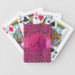 Monogram pink leopard pattern bicycle playing cards