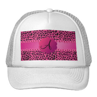 Monogram pink leopard pattern trucker hat