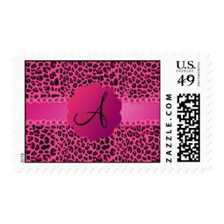 Monogram pink leopard pattern postage stamps