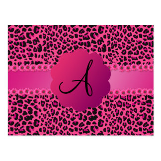 Monogram pink leopard pattern post cards