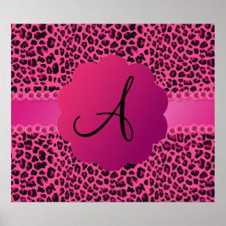 Monogram pink leopard pattern poster