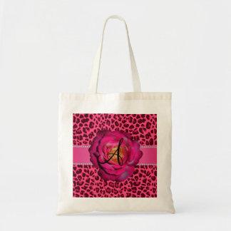 Monogram pink leopard pink rose canvas bags
