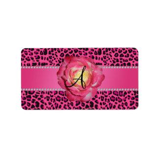 Monogram pink leopard pink rose label