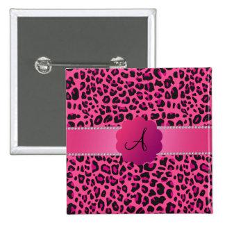 Monogram pink leopard pink scallop pink stripe buttons