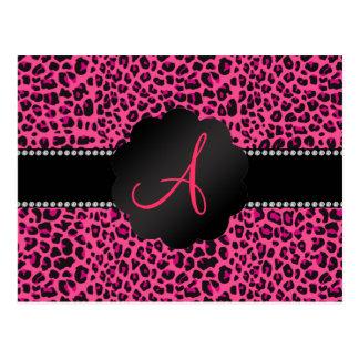 Monogram pink leopard post cards