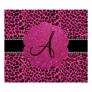 Monogram pink leopard posters