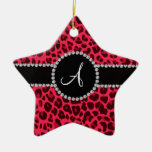 Monogram pink leopard print circle Double-Sided star ceramic christmas ornament