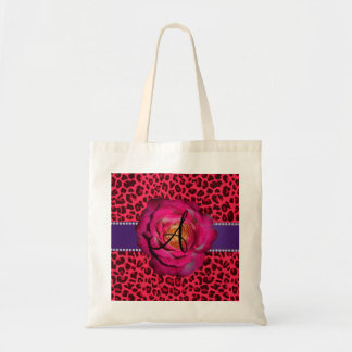 Monogram pink leopard print pink rose canvas bag