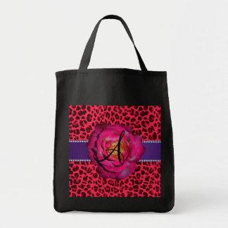 Monogram pink leopard print pink rose tote bags