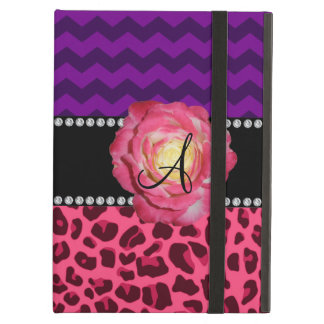 Monogram pink leopard purple chevrons case for iPad air