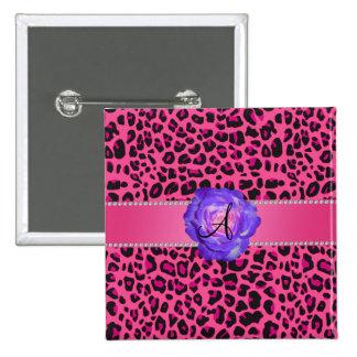Monogram pink leopard purple rose pinback button
