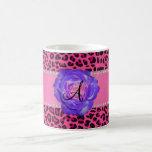 Monogram pink leopard purple rose coffee mug