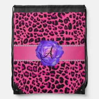Monogram pink leopard purple rose cinch bags