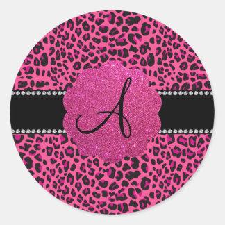 Monogram pink leopard round sticker