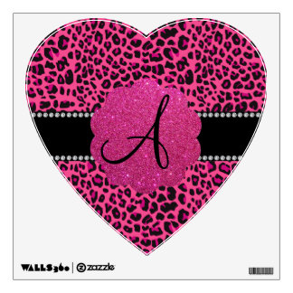 Monogram pink leopard wall decal