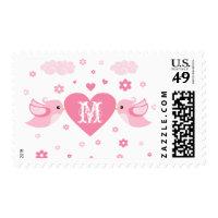 Monogram Pink Love Birds Heart Postage