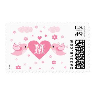 Monogram Pink Love Birds Heart Postage Stamp