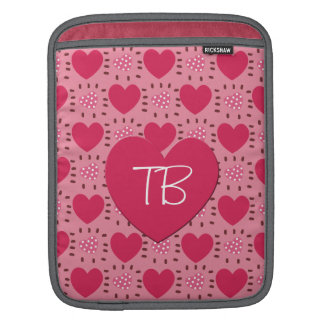 Monogram Pink Love Hearts and Dots Patchwork Sleeve For iPads