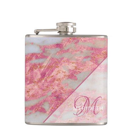 Monogram Pink Marble Geometric Bridesmaid Flask