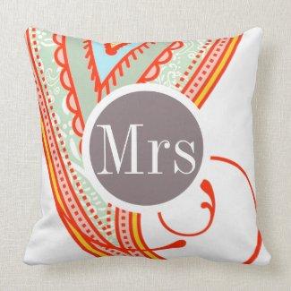 Monogram Pink Mint Taupe Modern Pattern Pillow