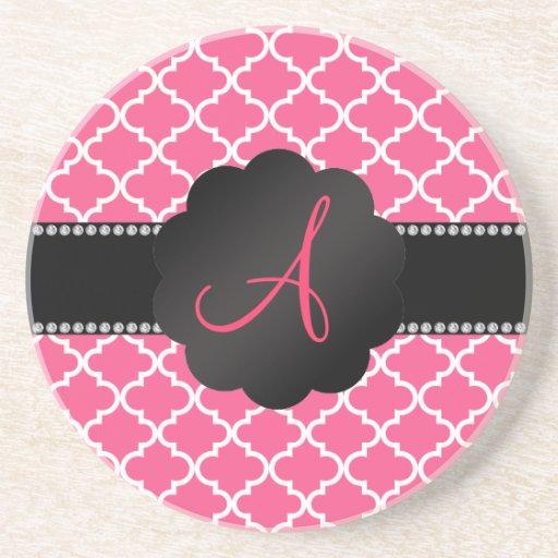 Monogram Pink moroccan Drink Coasters