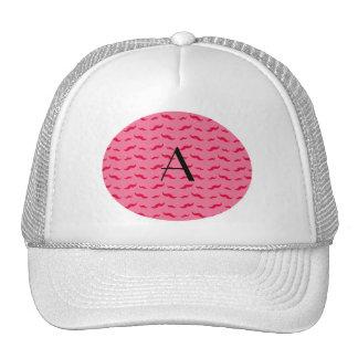 Monogram pink mustache pattern mesh hats