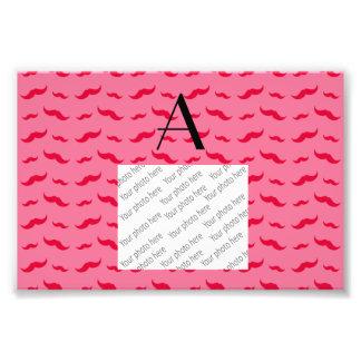 Monogram pink mustache pattern photo art